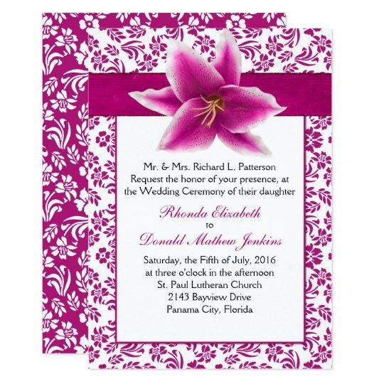 Stargazer Lily Wedding Invitation