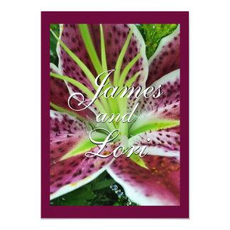 "Stargazer Lily Wedding Invitation- customize 5"" X 7"" Invitation Card"