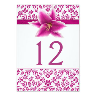 "Stargazer Lily Wedding Table Number 4.5"" X 6.25"" Invitation Card"
