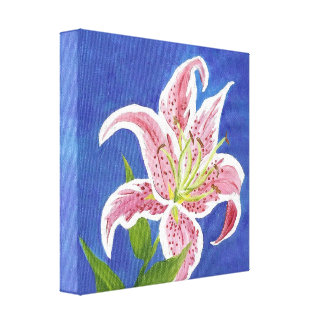 Stargazer Lily wrapped canvas