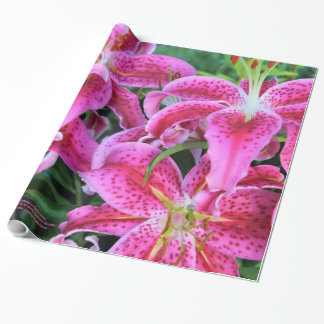 Stargazer Oriental Lilies, full flowers Wrapping Paper