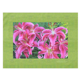 Stargazer Oriental Lilies, Grass Background Tablecloth