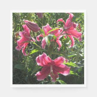 Stargazer Pink Oriental Lilies Paper Napkin