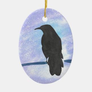 Stargazing Crow Ceramic Ornament