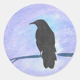 Stargazing Crow Classic Round Sticker