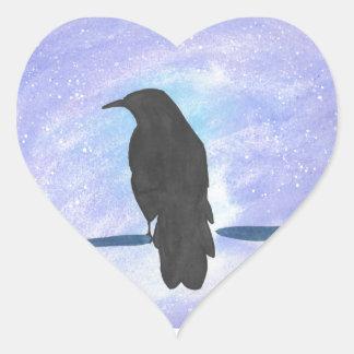 Stargazing Crow Heart Sticker