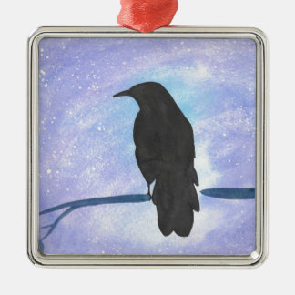 Stargazing Crow Metal Ornament