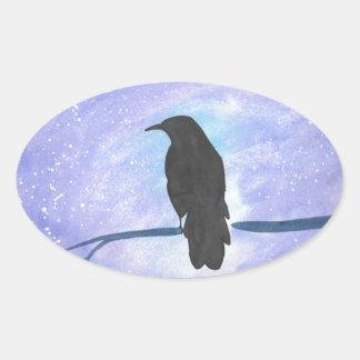 Stargazing Crow Oval Sticker