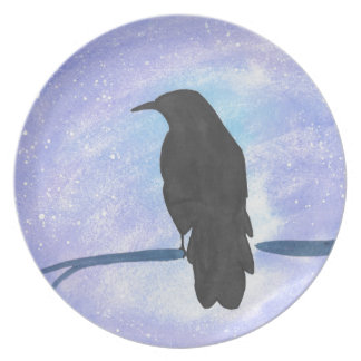 Stargazing Crow Plate