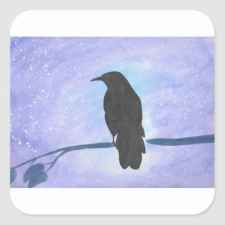 Stargazing Crow Square Sticker