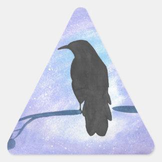 Stargazing Crow Triangle Sticker