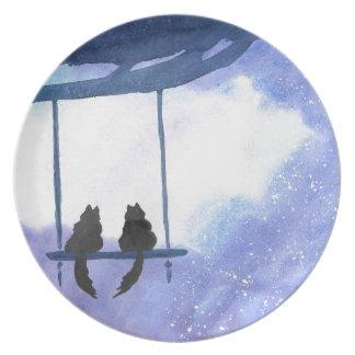 Stargazing Kitties Plate
