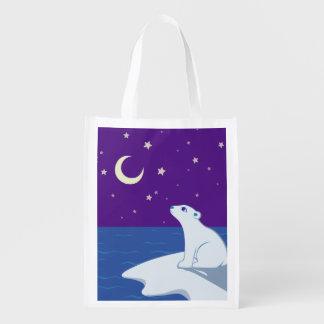 Stargazing Polar Bear Cub Art Market Tote