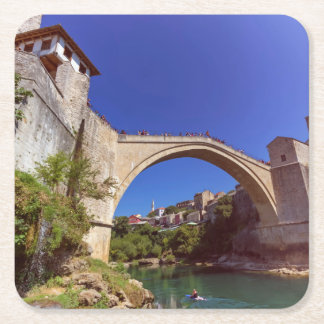 Stari Most, Mostar, Bosnia and Herzegovina Square Paper Coaster
