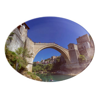 Stari Most, old bridge, Mostar, Bosnia and Herzego Porcelain Serving Platter