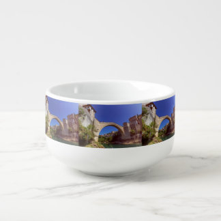 Stari Most, old bridge, Mostar, Bosnia and Herzego Soup Bowl With Handle