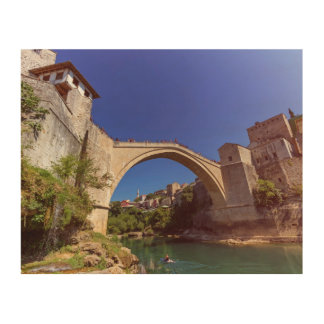 Stari Most, old bridge, Mostar, Bosnia and Herzego Wood Wall Art