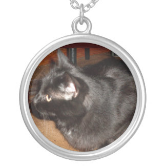 STARING OFF, BLACK CAT knecklace Silver Plated Necklace