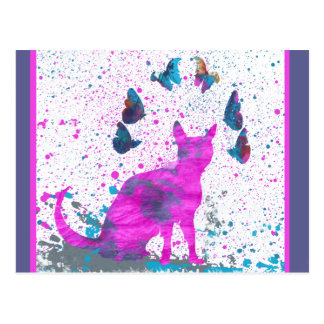 Staring Pink Cat and Butterflies Postcard