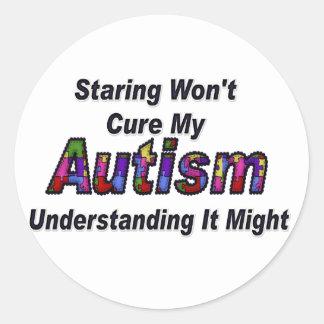 Staring Won't Cure My Autism Round Sticker