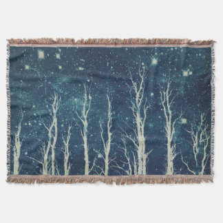 Stark Trees Teal Blue Throw Blanket