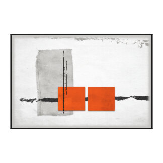 Stark Windows Minimalist Modern Orange and Gray Canvas Print