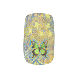 Starlight Green Butterflies Minx Nail Art