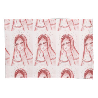 Starlight Mary in Red Pillowcase