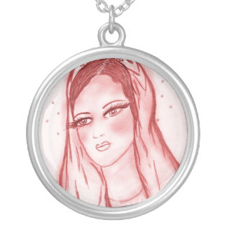 Starlight Mary in Red Silver Plated Necklace