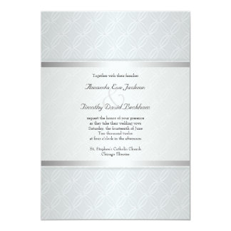 Starlight Silver Flare Monogrammed Elegant Wedding Card