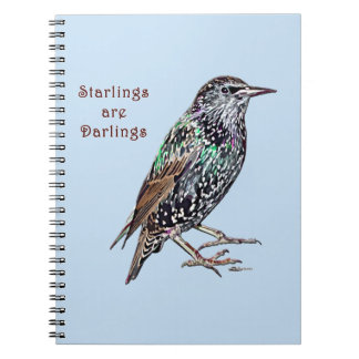 Starlings Are Darlings Spiral Note Books