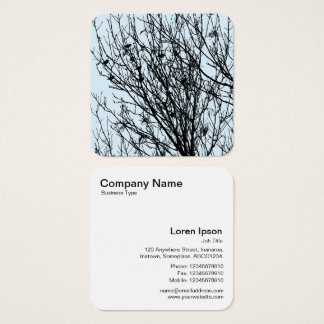 Starlings in a Tree - Black on Pale Blue D3E5EF Square Business Card