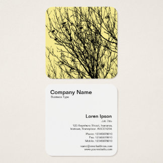 Starlings in a Tree - Black on Pale Yellow F5EA93 Square Business Card