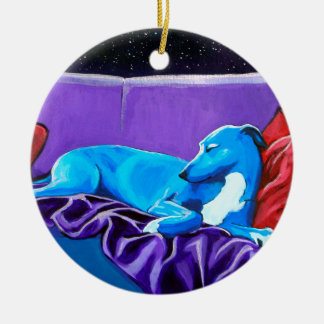 'Starlit lurcher' Ceramic Ornament