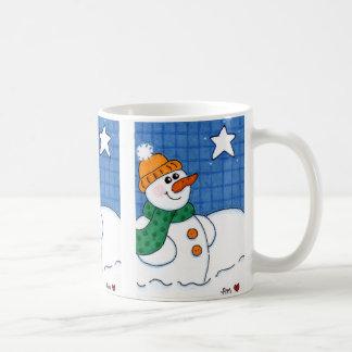 Starlit Night Winter Snowman Classic White Mug