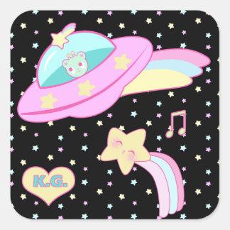 Starry Alien Space Ship Square Sticker