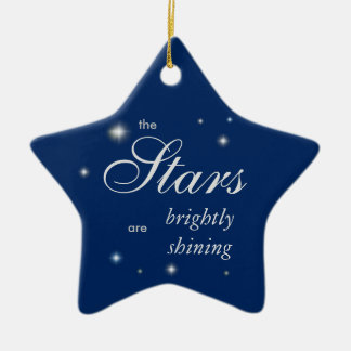 Starry blue merry and bright Christmas Double-Sided Star Ceramic Christmas Ornament