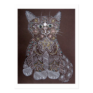 Starry Cat - Pen and Ink Postcard