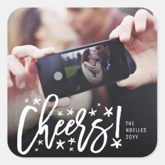Starry Cheers Brush Holiday New Year Photo Sticker