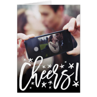 Starry Cheers Brush New Year Holiday Photo Card
