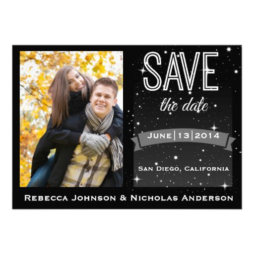 Starry Chic Classic Black Save the Date Photo Card