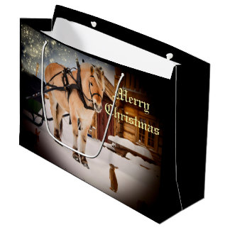 Starry Christmas night at the farm with horse Large Gift Bag