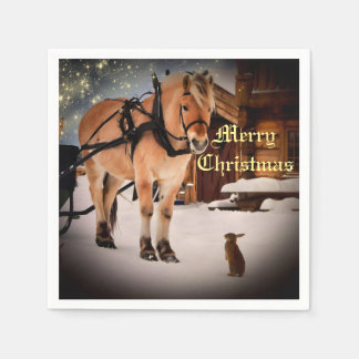 Starry Christmas night at the farm with horse Paper Napkins