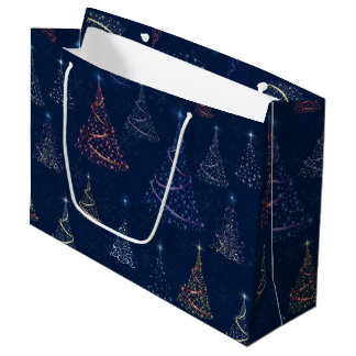 Starry Christmas Trees & Snowflakes on Blue Large Gift Bag