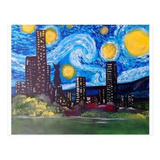 Starry City Meow Postcard