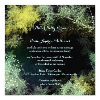 Starry Forest Modern Glitzy Wedding Invitations