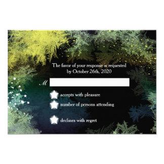Starry Forest Wonderland Wedding RSVP 3 5x5 Custom Announcements