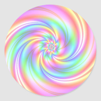 Starry Girl Pink Twirl Stickers Round