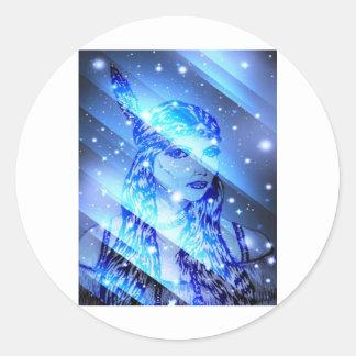 starry indian maiden.jpg round sticker