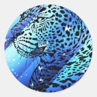 Starry leopard.jpg round sticker